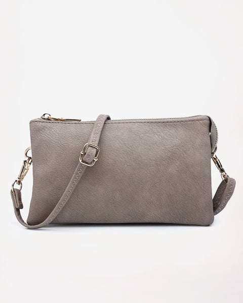 Jen & Co Khaki Grey Crossbody Purse Handbag Wristlet Savvy Chic Boutique Cleveland Ohio