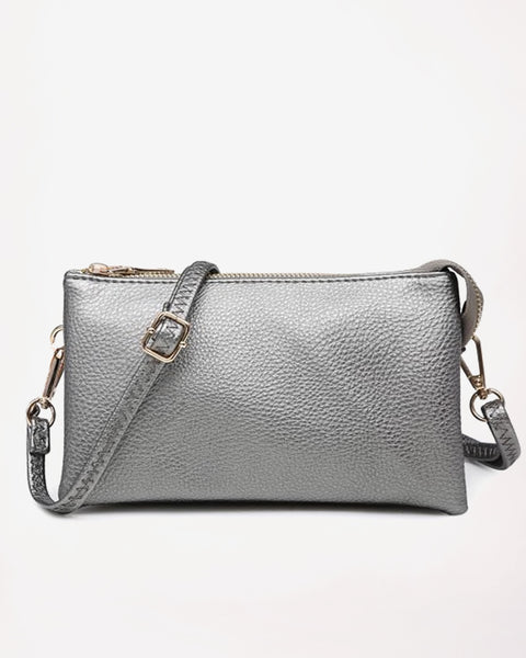 Jen & Co Gunmetal Silver Charcoal Metallic Wristlet Crossbody Clutch Handbag Vegan Faux-Leather Savvy Chic Boutique Cleveland Ohio
