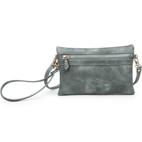 Jen & Co Teal Sage Green Wristlet Crossbody Clutch Handbag Vegan Faux-Leather Savvy Chic Boutique Cleveland Ohio