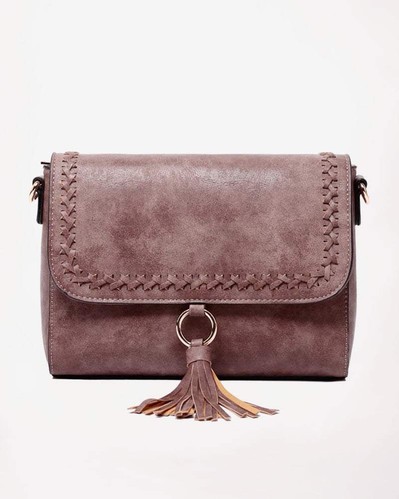 Jen & Co Plum Mauve Purple Whipstitch Flap Over Faux-Leather Tassel Crossbody Handbag Purse Savvy Chic Boutique Cleveland Ohio