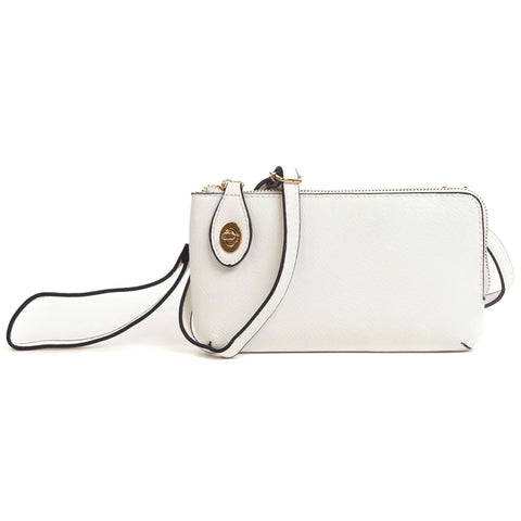 Jen & Co White Faux Leather Turn Lock Crossbody Wristlet Handbag Purse Savvy Chic Boutique Cleveland Ohio