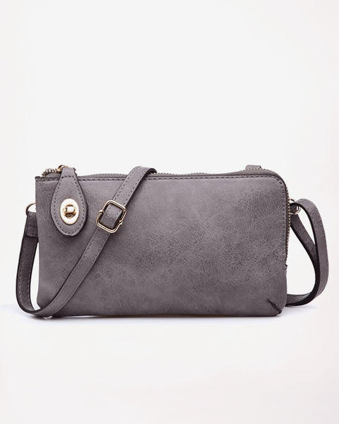 Jen & Co Grey Charcoal Ash Vegan Faux Leather Crossbody Wristlet Purse Savvy Chic Boutique Cleveland Ohio