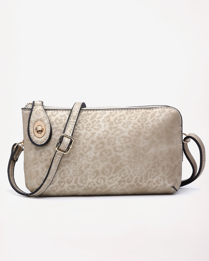 Jen & Co Gold Cheetah Leopard Animal Print Vegan Faux Leather Crossbody Wristlet Purse Savvy Chic Boutique Cleveland Ohio
