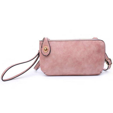 Jen & Co Snake Pink Vegan Faux Leather Turn Lock Crossbody Wristlet Purse Handbag Savvy Chic Boutique Cleveland Ohio