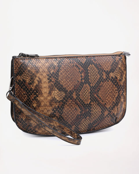 Jen & Co Brown Python Snakeskin Crossbody Purse Handbag Wristlet Savvy Chic Boutique Cleveland Ohio