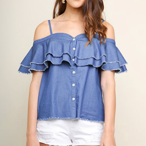 Umgee Denim Off the Shoulder Tiered Frayed Button Down Blouse Top Savvy Chic Boutique Cleveland Ohio