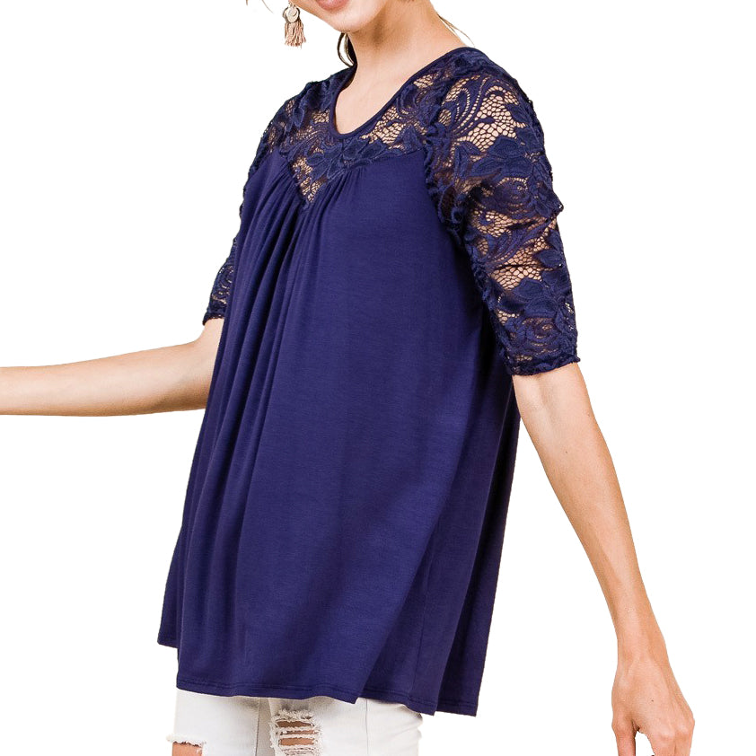 Timing Misia Blue Lace Sleeve Top Savvy Chic Boutique Cleveland Ohio