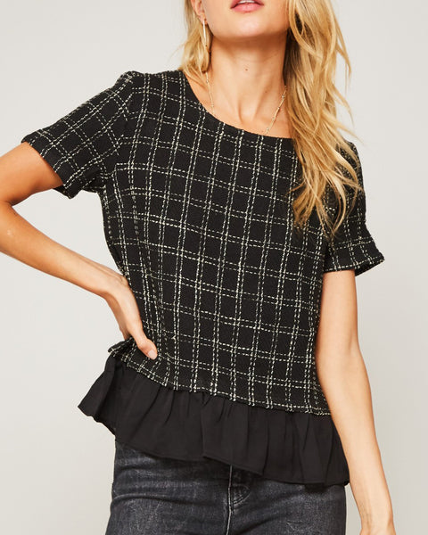 Promesa Black White Check Windowpane Ruffle Tweed Short Sleeve Top Savvy Chic Boutique Cleveland Ohio