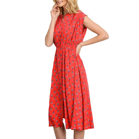 Gilli Red Print Sleeveless A-Line Midi Dress Savvy Chic Boutique Cleveland Ohio
