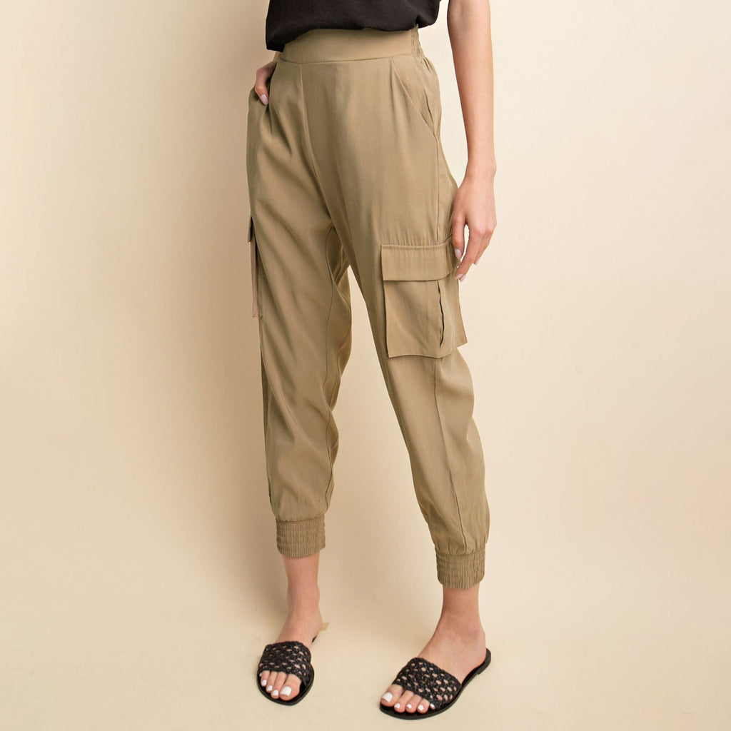 Gilli Taupe Beige Cargo Jogger Pant Savvy Chic Boutique Cleveland Ohio