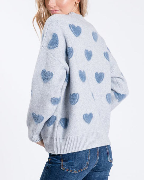 Light Blue Heart Print Knit Sweater Pullover Top Savvy Chic Boutique Cleveland Ohio