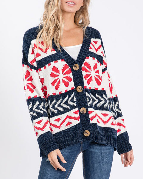 Red White Navy Blue Winter Nordic Fair Isle Print Chenille Knit Button Down Cardigan Sweater Savvy Chic Boutique Cleveland Ohio
