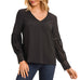 Gilli Black V-Neck Crochet Chiffon Blouse Savvy Chic Boutique Cleveland Ohio