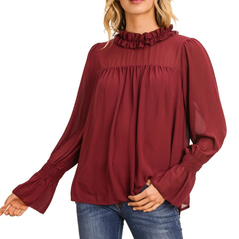 Gilli Burgundy Wine Maroon Ruffle Sheer Bell Sleeve Blouse Savvy Chic Boutique Cleveland Ohio