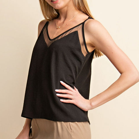 Gilli Black Sheer Mesh Insert V Neck Cami Camisole Tank Top Savvy Chic Boutique Cleveland Ohio