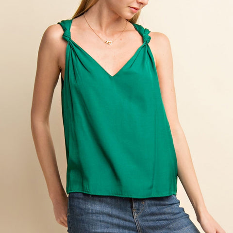 Gilli Green Knotted V Neck Tank Top Savvy Chic Boutique Cleveland Ohio