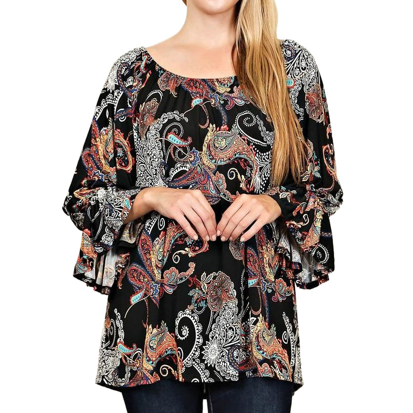 Lemon Tree Black Colorful Paisley Print Bell Sleeve Top Savvy Chic Boutique Cleveland Ohio