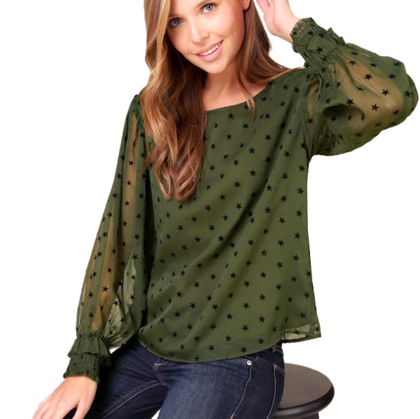 Coverstitched Army Green Star Print Sheer Ruffle Blouse Top Savvy Chic Boutique Cleveland Ohio