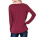 Coverstitched Wine Burgundy Soft Long Sleeve Twist Front Hem Top Savvy Chic Boutique Cleveland Ohio