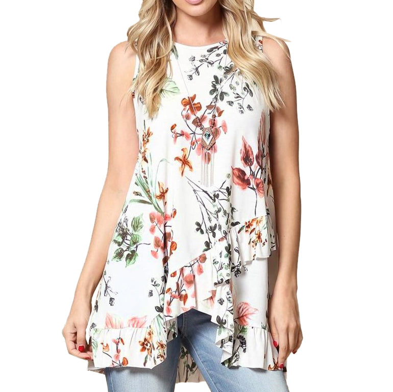 d3427949e16018 Lemon Tree Floral Ruffle Criss Cross White Tank Top Savvy Chic Boutique  Cleveland Ohio