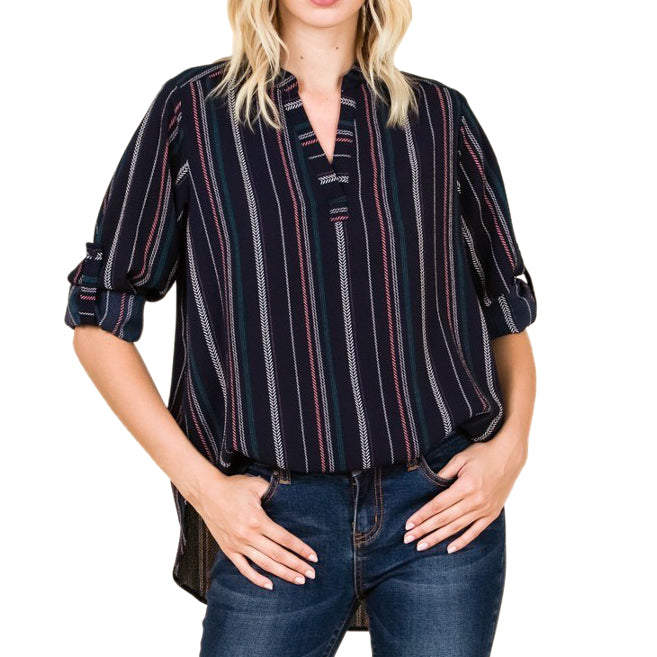 Misia Navy Stripe Pattern Cuffed Shirt Top Savvy Chic Boutique Cleveland Ohio