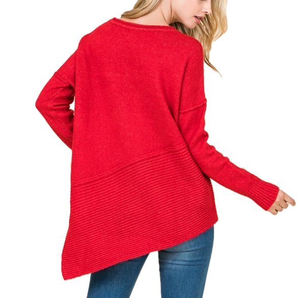Timing Lumiere Red Asymmetric Ribbed Long Sleeve Top Sweater Savvy Chic Boutique Cleveland Ohio