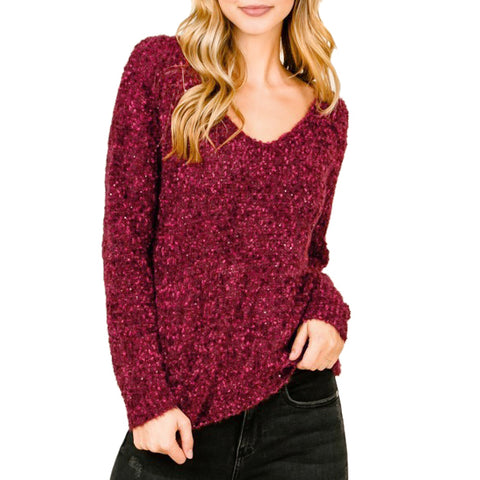 Lumiere Burgundy Wine Fuzzy Knit Sequin Sparkle V Neck Sweater Savvy Chic Boutique Cleveland Ohio