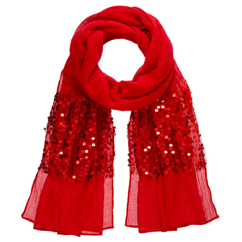 Sequin Panel Scarf - Red
