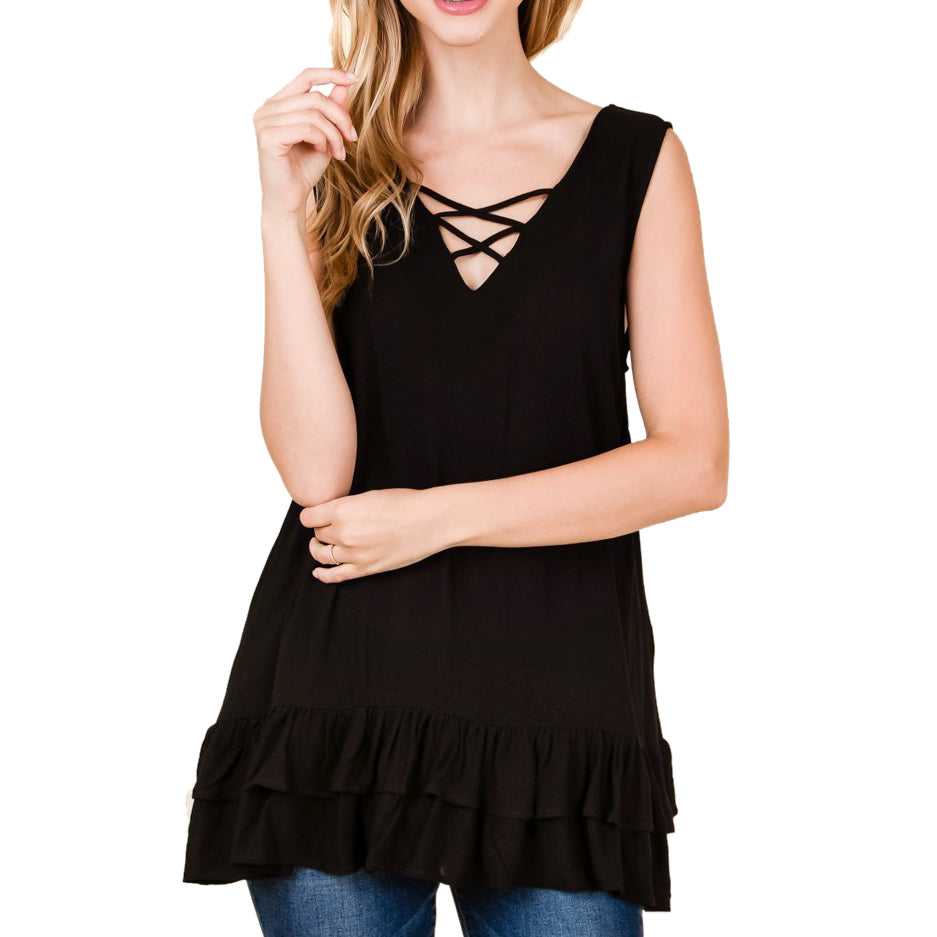 Timing Misia Black Criss Cross Neckline Ruffle Hem Tank Top Savvy Chic Boutique Cleveland Ohio
