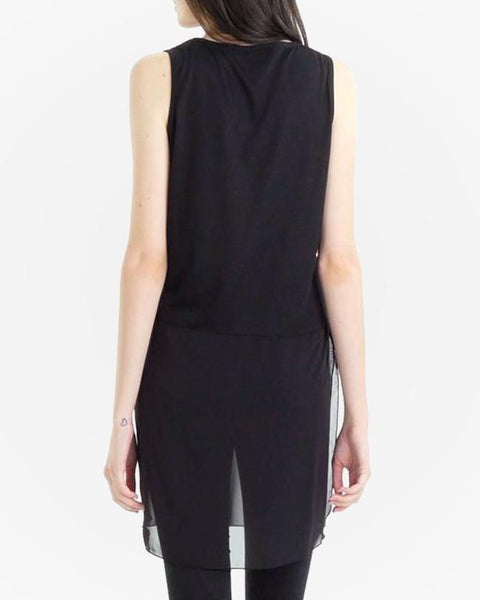 Black Sheer Panel Tank Top