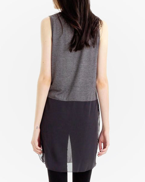 Sheer Panel Top - Grey