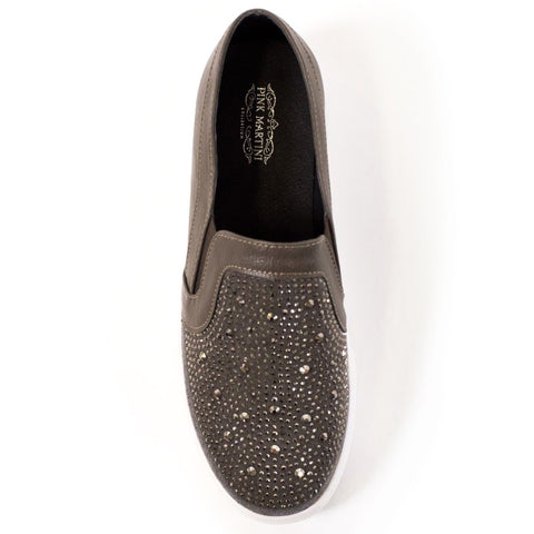 Pink Martini Grey Vegan Leather Rhinestone Embellished Slip On Shoe Savvy Chic Boutique Cleveland Ohio
