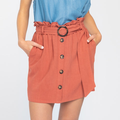 Everly Clay Rust Linen Paper Bag Waist Belted Button Up Skirt Savvy Chic Boutique Cleveland Ohio