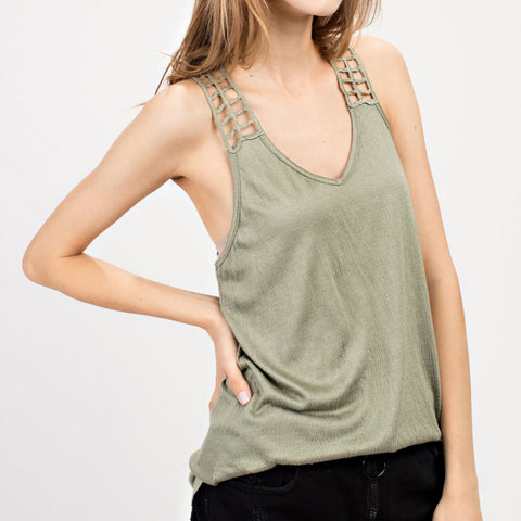 Mittoshop Sage Green Cutout Racerback Tank Top Savvy Chic Boutique Cleveland Ohio