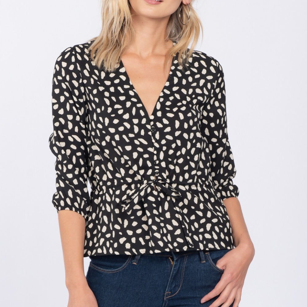 Everly Black Ivory Speckled Spotted Print V Neck 3/4 Sleeve Button Down Blouse Top Savvy Chic Boutique Cleveland Ohio