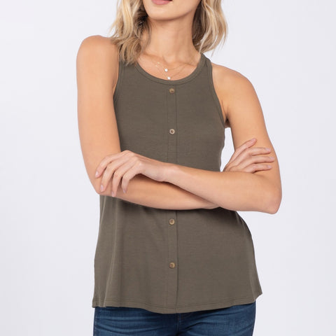 Everly Olive Green Ribbed Button Down Tank Top Savvy Chic Boutique Cleveland Ohio