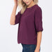 Everly Purple Short Sleeve Solid Blouse Top Savvy Chic Boutique Cleveland Ohio