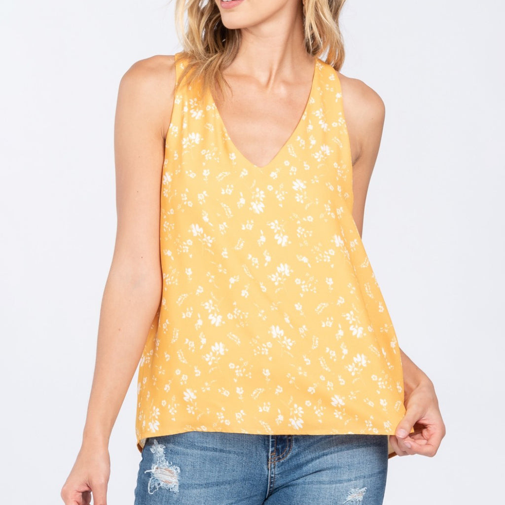 Everly Yellow Mustard Gold White Floral Print Tank Top V Neckline Savvy Chic Boutique Cleveland Ohio