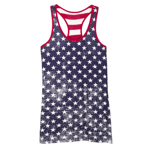 Color Bear USA American Flag Stars Stripes Red White Blue Distressed Print Racerback Tank Top Savvy Chic Boutique Cleveland Ohio