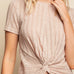 Gilli Taupe Twist Hem Ribbed Cropped Tee Top Savvy Chic Boutique Cleveland Ohio