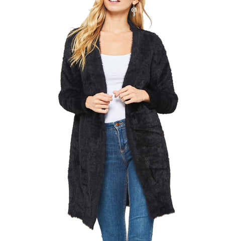 Promise Black Furry Long Open Cardigan Sweater Savvy Chic Boutique Cleveland Ohio