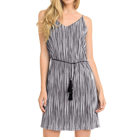 Le Lis Black White Stripe V Neck Tie Waist Dress USA Savvy Chic Boutique