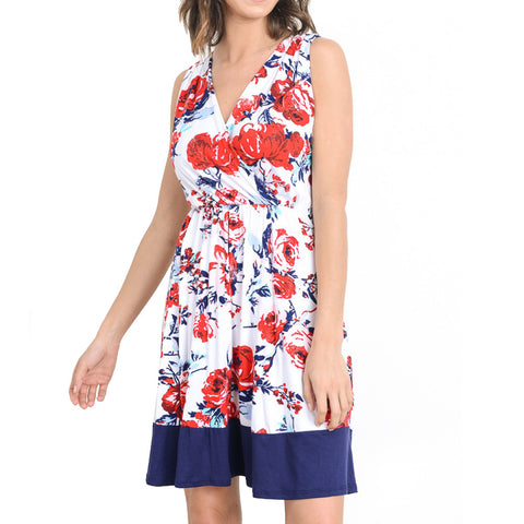 Floral Faux Wrap Dress