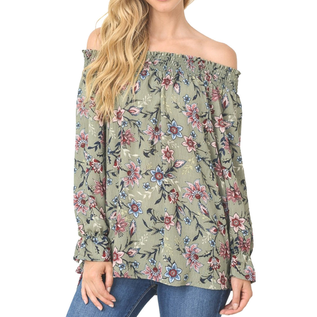 Green Floral Paisley Off the Shoulder Long Sleeve Top