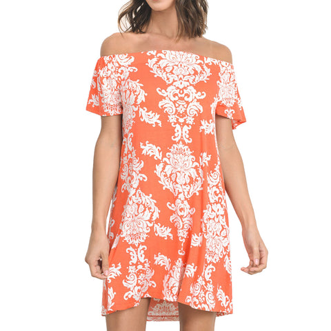 Coral Damask Print Off the Shoulder Dress