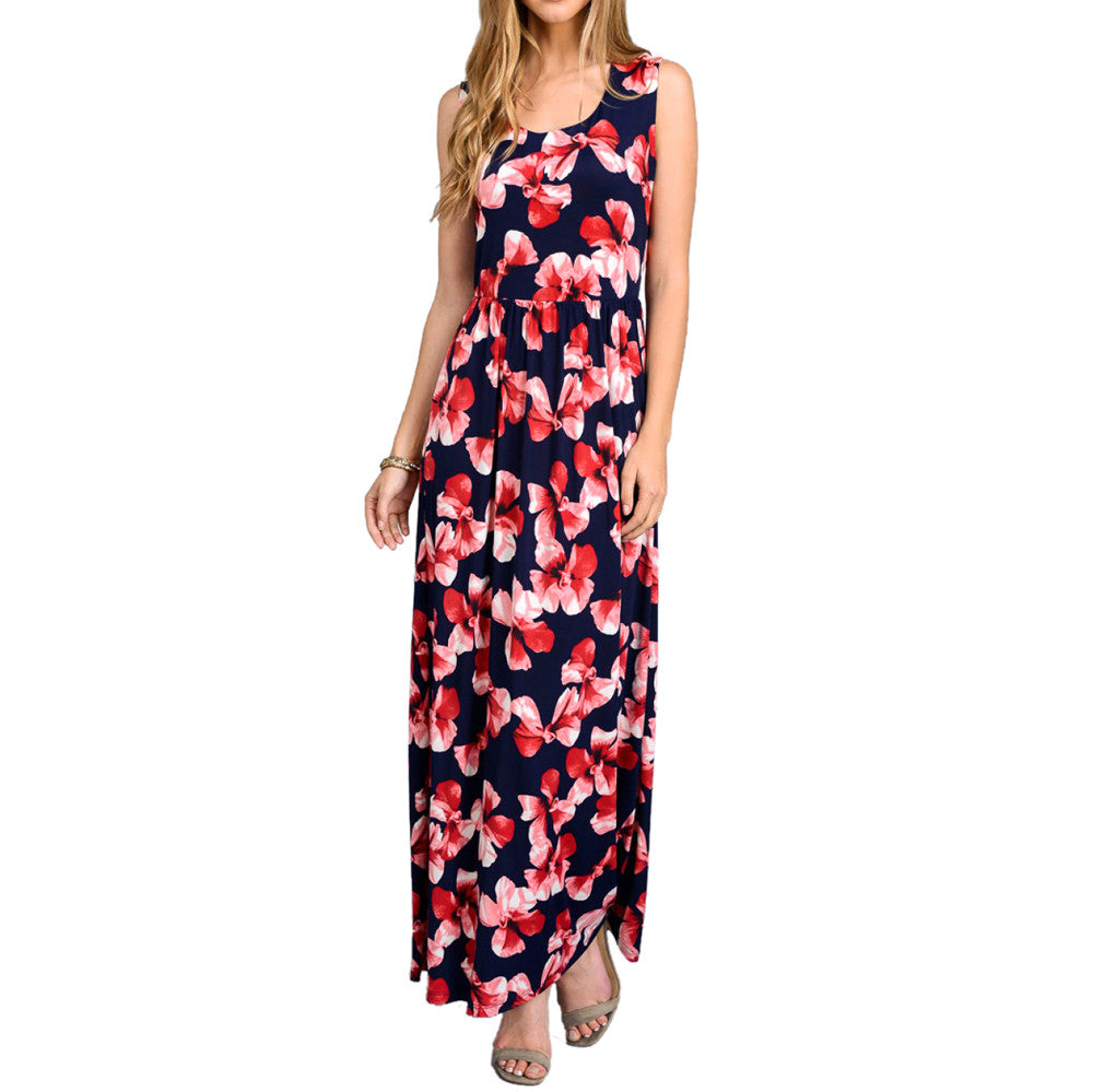 Crochet Maxi Dress Red Navy Floral Print