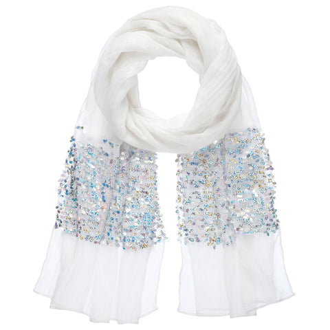 White Sequin Scarf
