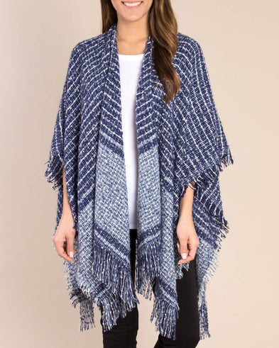 Stripe Fringe Wrap - Navy