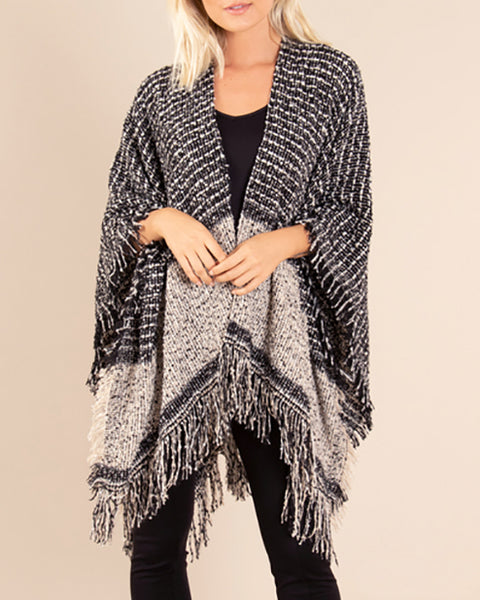 Stripe Fringe Wrap - Black