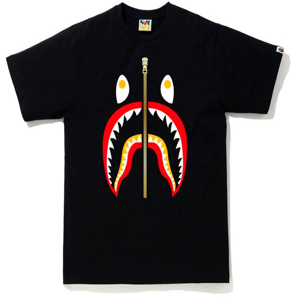 Bape Shark Tee Gold Zip Black/Red/Yellow